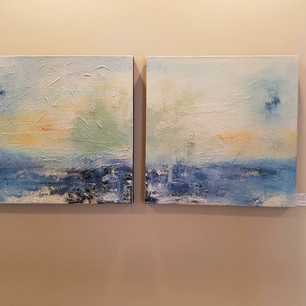 blue abstract landscape art