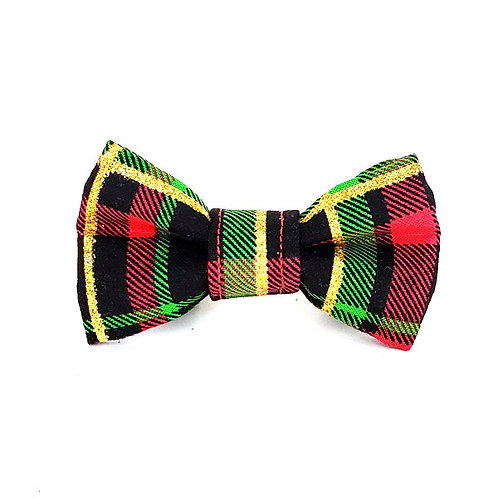 black red gold plaid - narrow bow ties