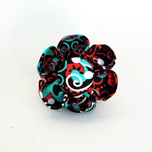 green red swirls - flower bow