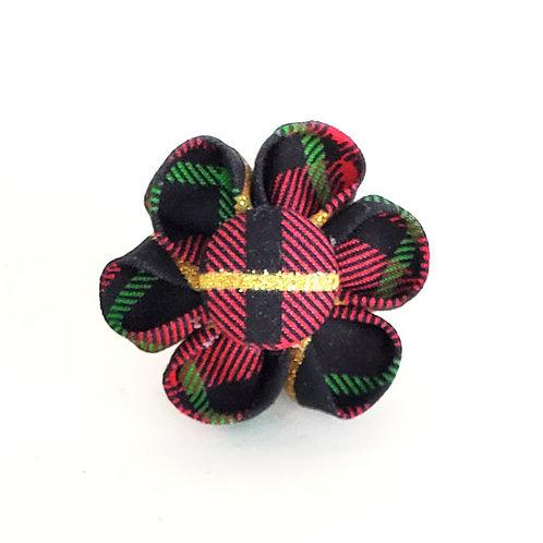 black red plaid - flower bow
