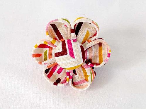 pink stripe chevron - flower bow