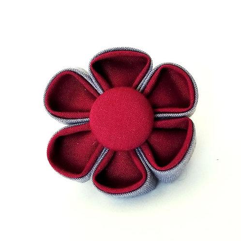 maroon gray - flower bow