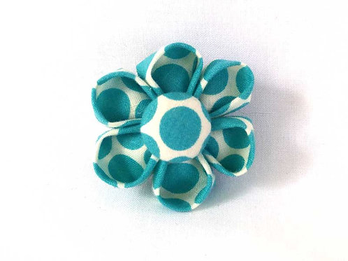 teal dots - flower bow