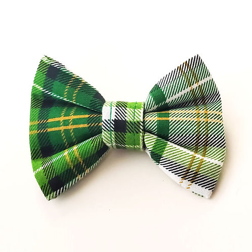 green plaid - wide bow tie
