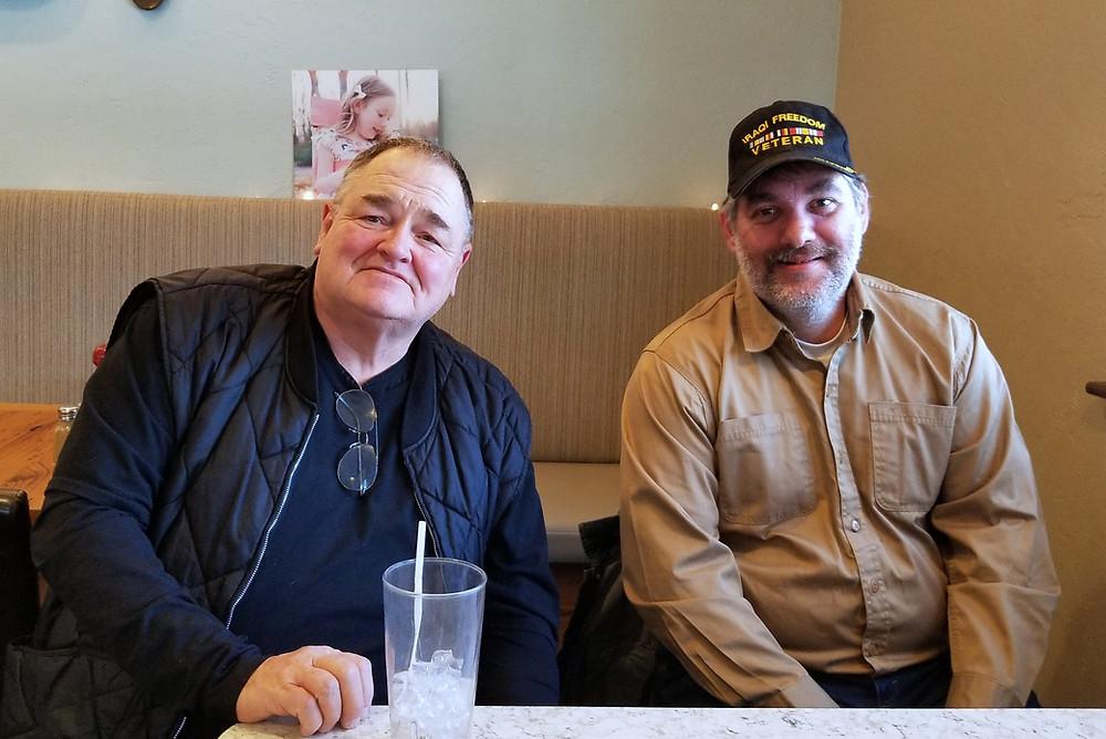 Larry Rishel, USMC, with Larry Daugherty, US Army