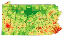 Map of Pennsylvania showing where Vetern owned farms are located.