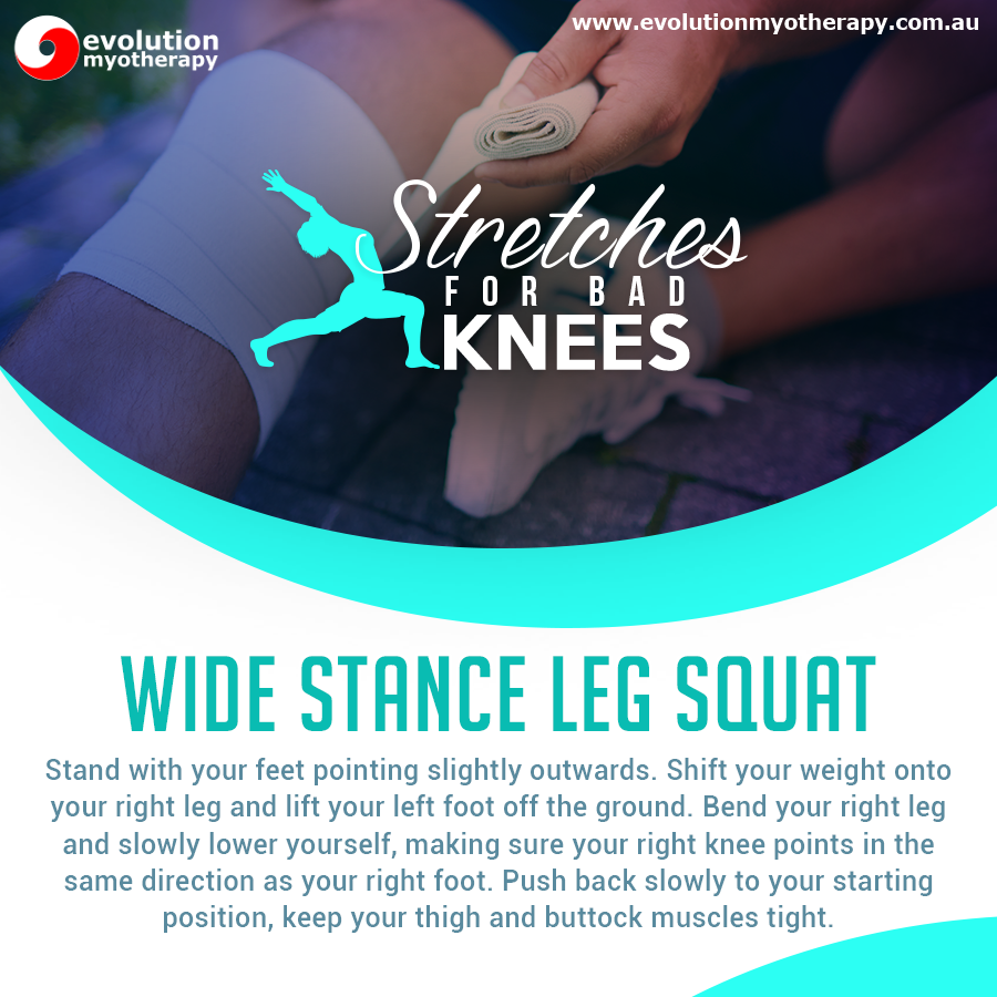 Stretches For Bad Knees: Wide Stance Leg Squat