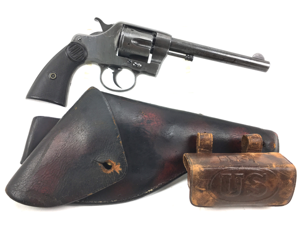 Colt 1889 New Navy Revolver with 1905 RIA Cartridge Pouch and Holster
