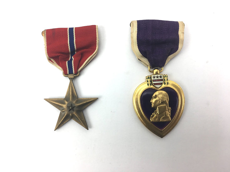 WWII Era Named Bronze Star and Purple Heart Medal Lot
