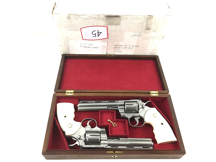 Pair of Colt Pythons (1992 & 1983) 6 In. Matte Stainless with Presentation Box