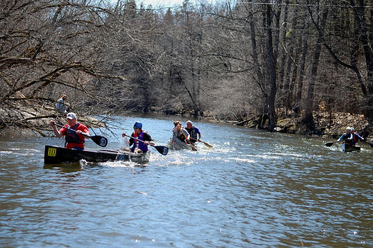 C-2 canoes racing at the 2018 Little River Ramble, Canton, NY