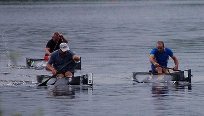 C-1 canoes racing at the 2013 Madrid Canoe Regatta, Madrid, NY