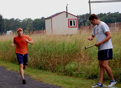 Keeping time at the August 2014 duathlon, Canton, NY