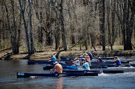 C-1 amateur start at the 2018 Canton Canoe Weekend. Canton, NY