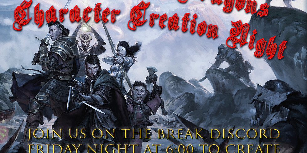 Dungeons and Dragons Character Creation Night