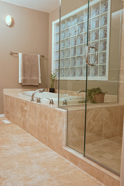 Interior of a tiled bathroom