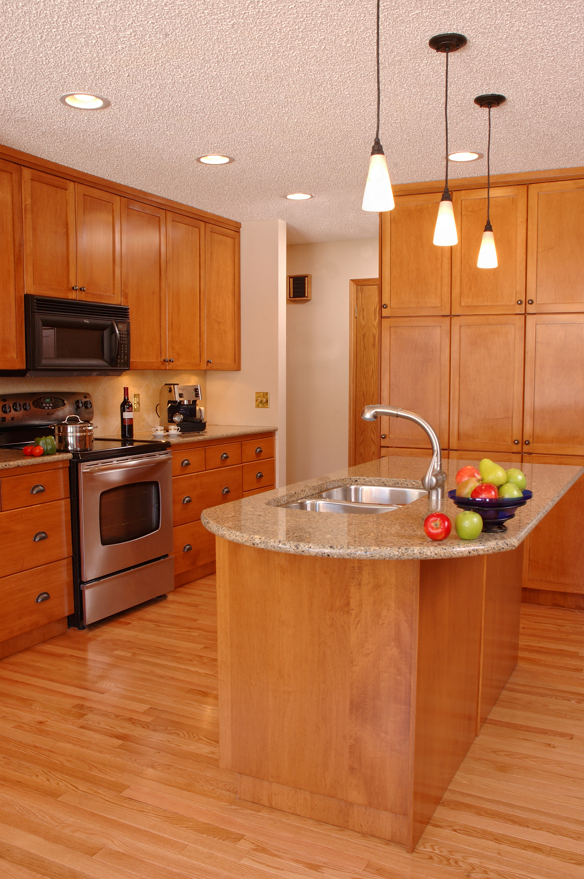 Interior of kitchen with fruit bowl on counter