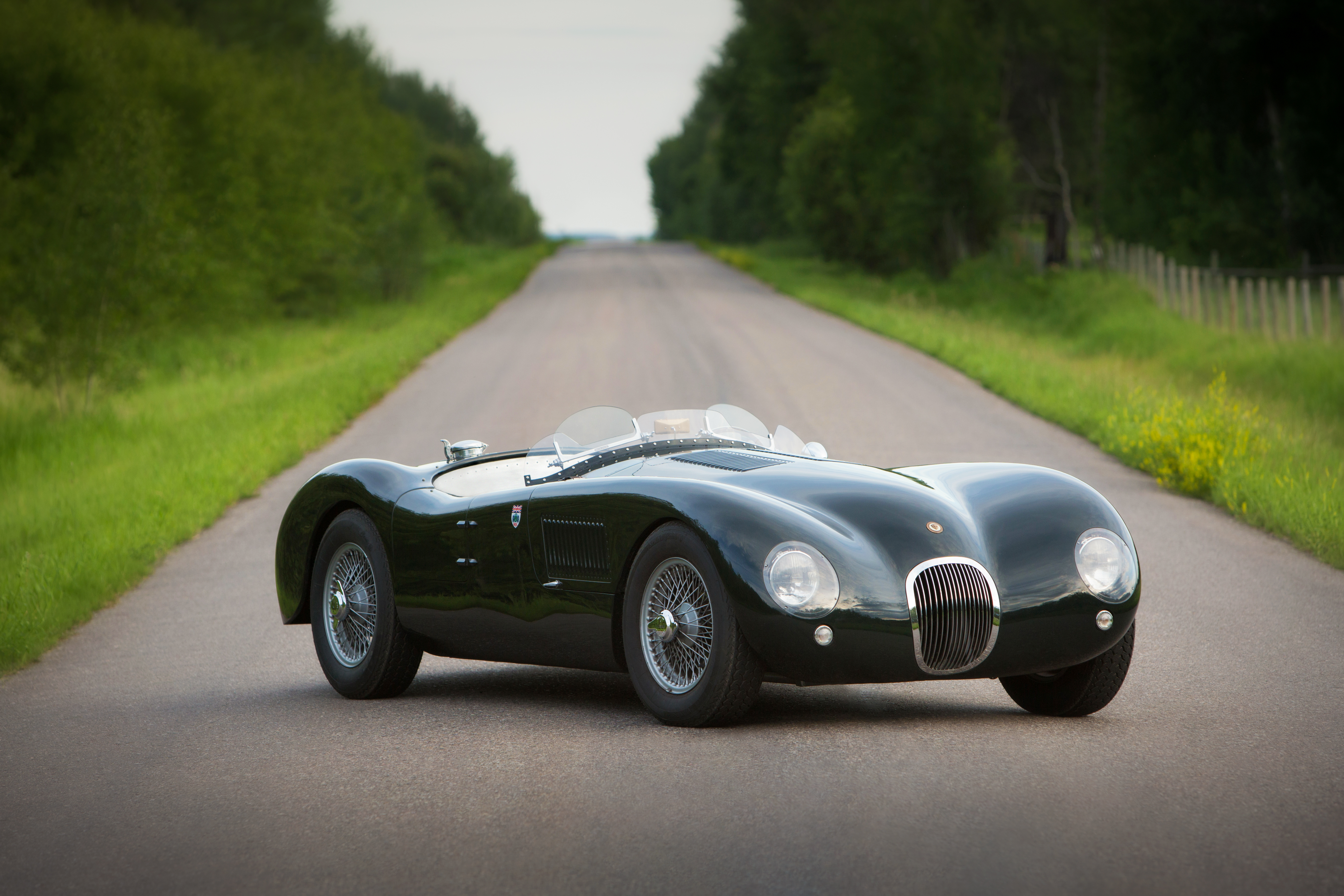 Classic Jaguar car parked on an open road