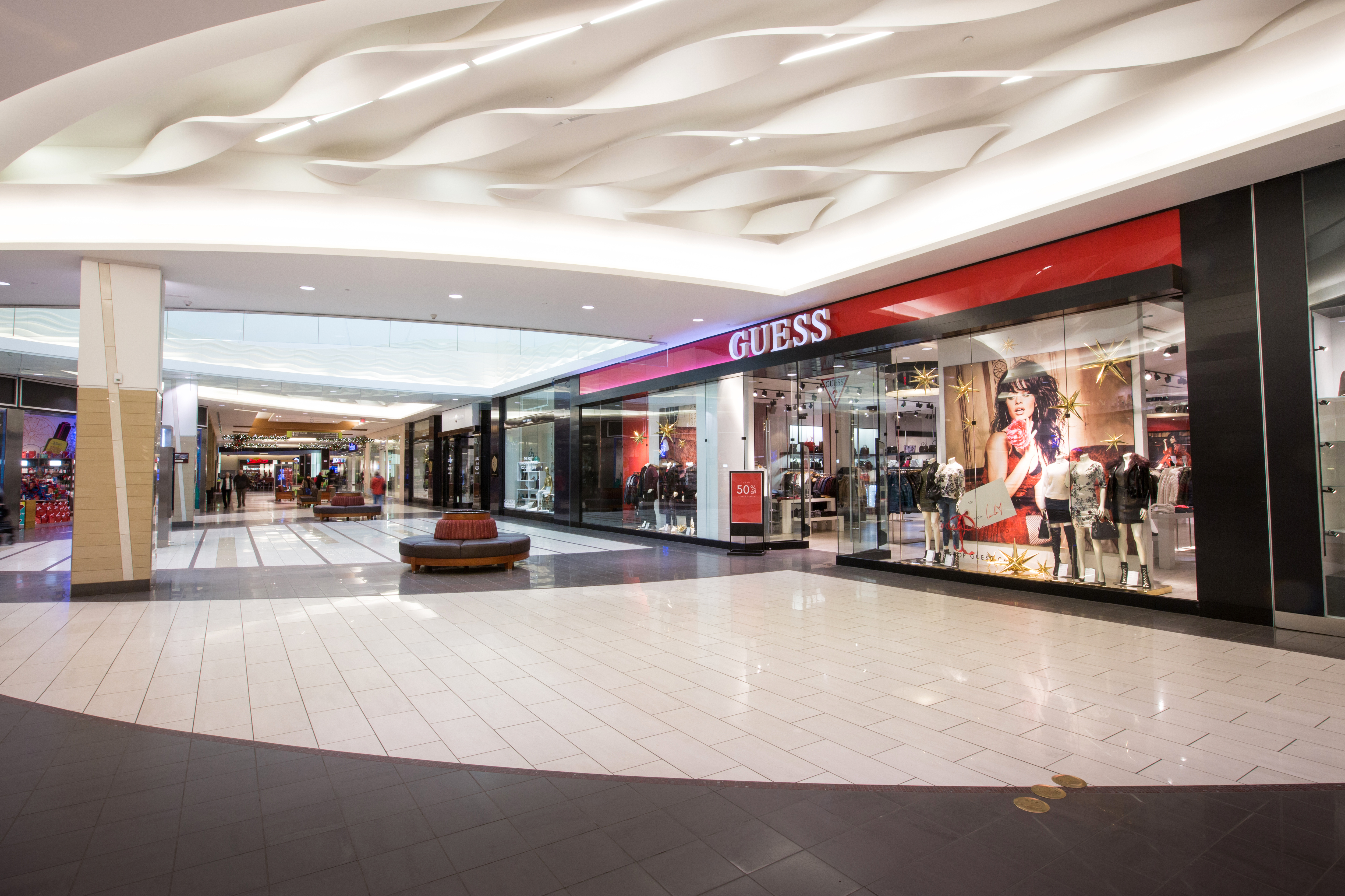 Storefront of Guess store in Southgate Centre shopping mall