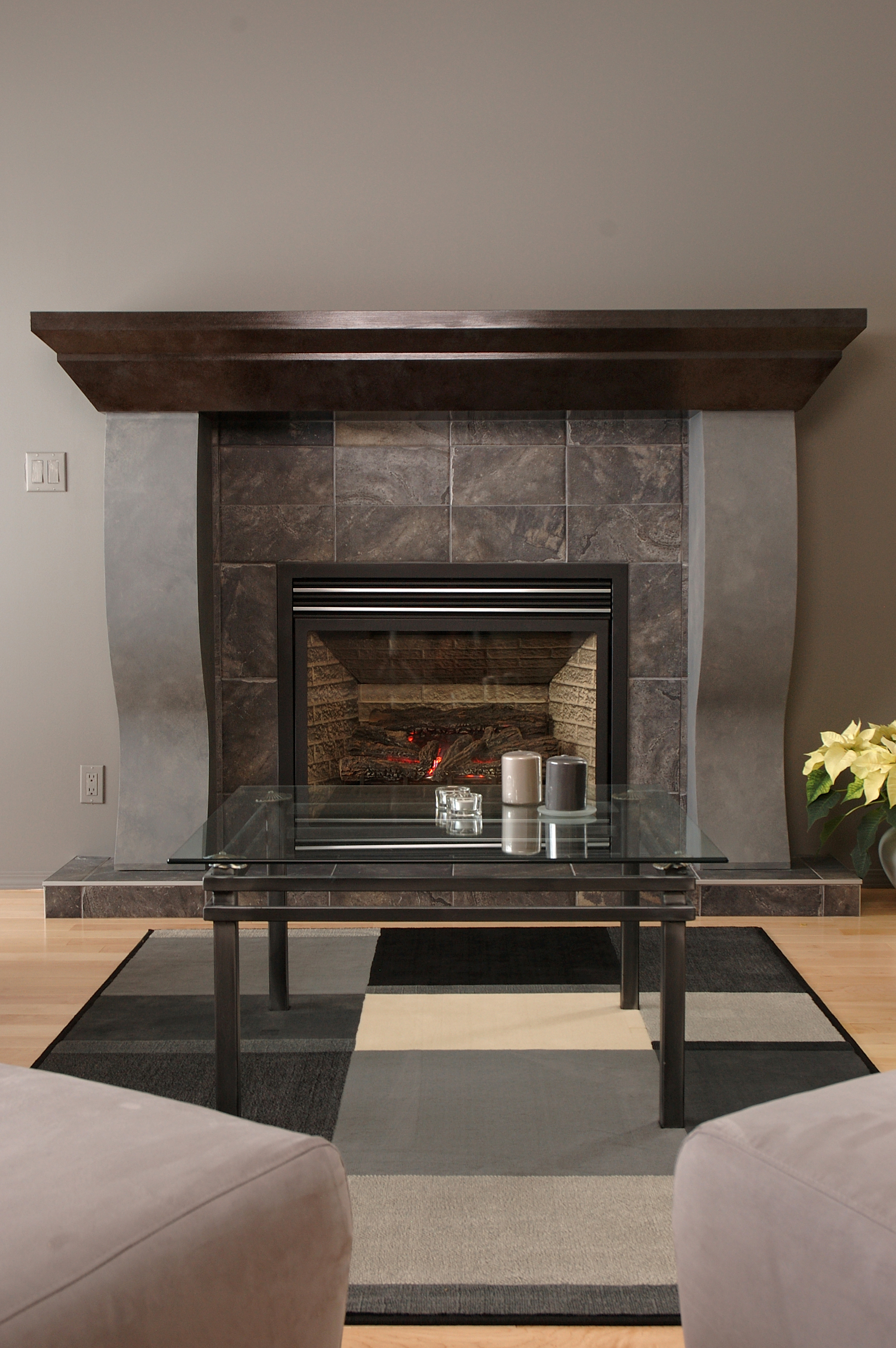 Modern grey tiled fireplace