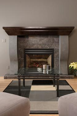 Modern grey tiled fireplace