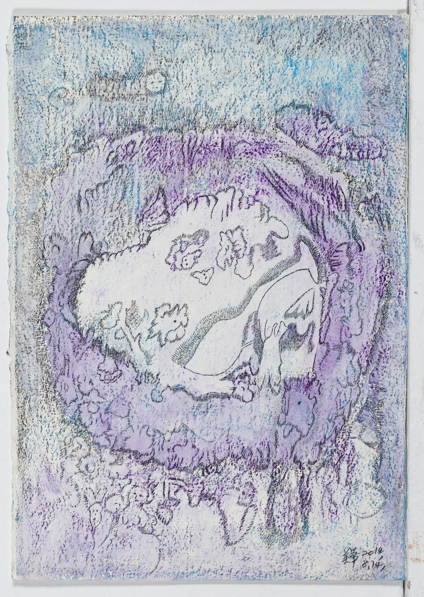 A327 水珠6  紙.鉛筆.粉彩 油彩28X39.5 2014-8