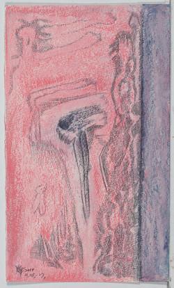 A331  小孩看大人 紙.鉛筆.粉彩 油彩 23.5X39.5 2014.9