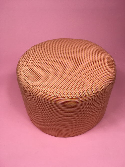 Round peach & pink footstool