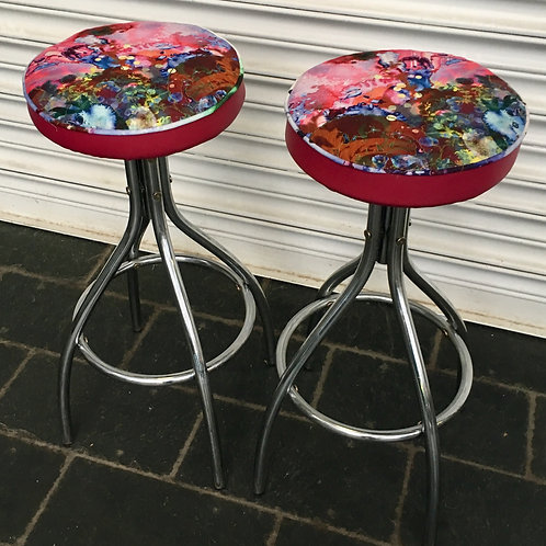 Pair of atomic style chrome kitchen stools in Timorous beasties thunder blotch