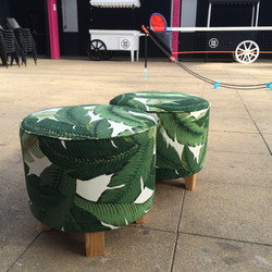 Upcycled footstools.