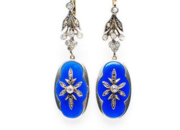 Kolczyki z kobaltową emalią i diamentami