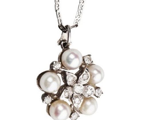 Naszyjnik z diamentami i perłami