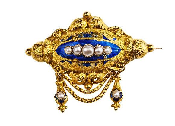 Broszka XIX wiek z kobaltową emalią i perłami