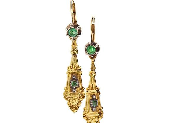 Kolczyki ze szmaragdami i naturalnymi perłami