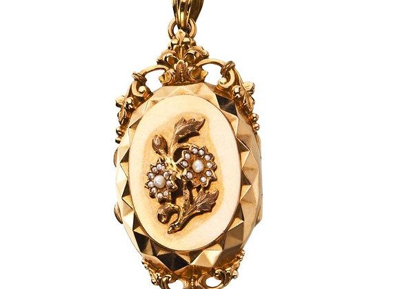 Naszyjnik ze złota z naturalnymi perłami