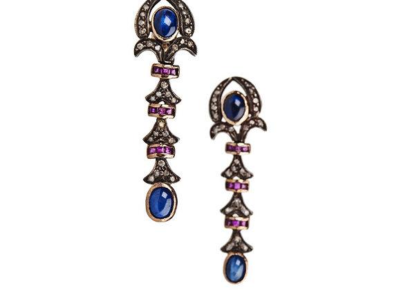 Kolczyki z diamentami, rubinami i szafirami