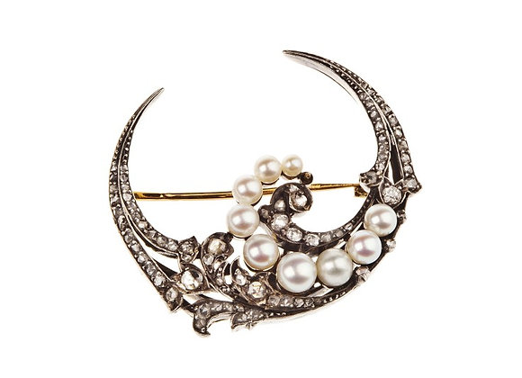 Broszka z diamentami i perłami