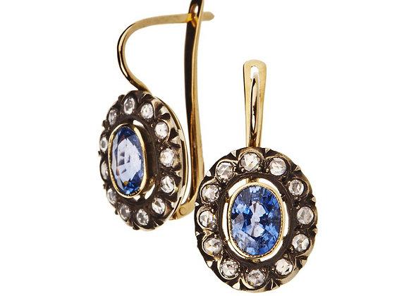 Kolczyki karmazycje z diamentami i szafirami