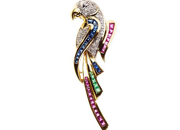 Broszka-papuga z brylantami,szafirami,rubinami i szmaragdami