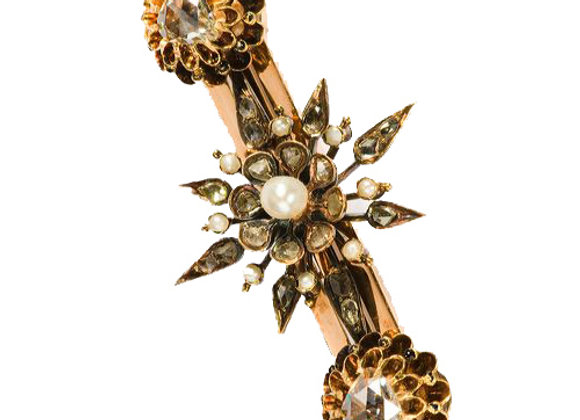 Broszka z diamentami i naturalnymi perłami
