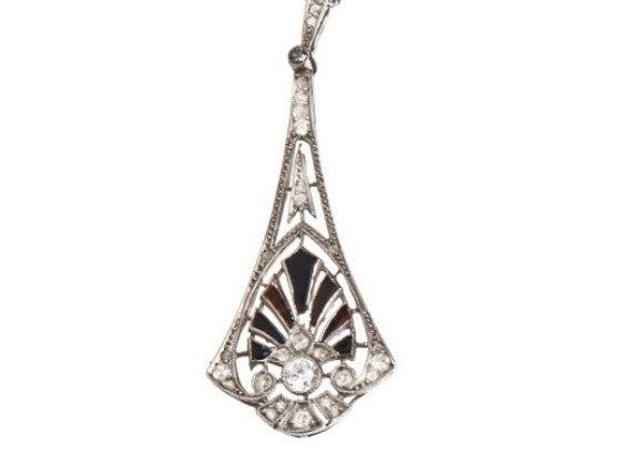 Zawieszka- naszyjnik z diamentami i onyksem