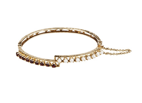 Bransoletka z naturalnymi perłami i granatami
