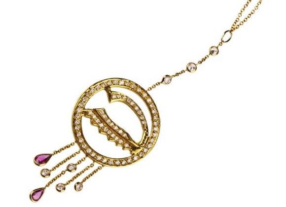 Naszyjnik z brylantami i rubinami