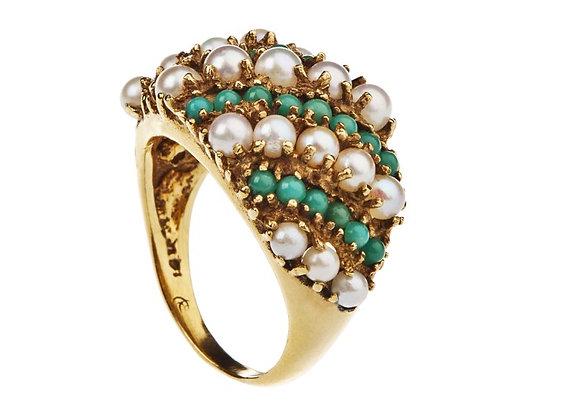 Pierścionek z turkusami i perłami
