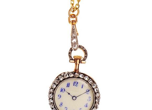 Zegarek biżuteryjny z diamentami i szmaragdem