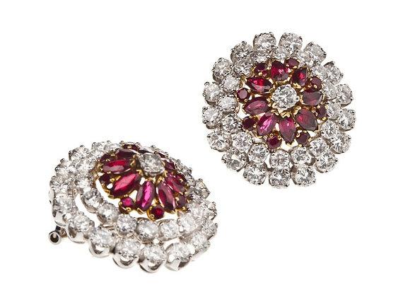 Kolczyki z brylantami i rubinami