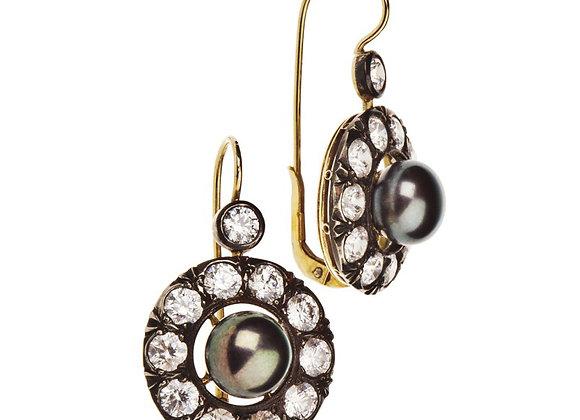 Kolczyki z brylantami i naturalnymi perłami
