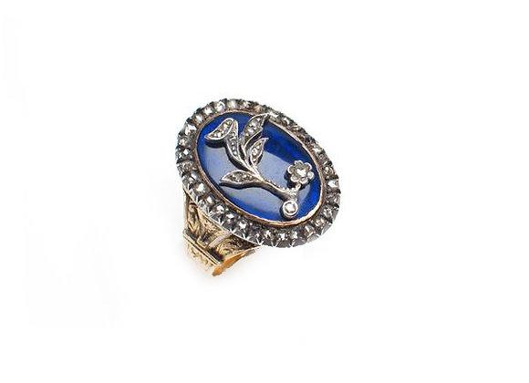 Sygnet z kobaltową emalią i diamentami