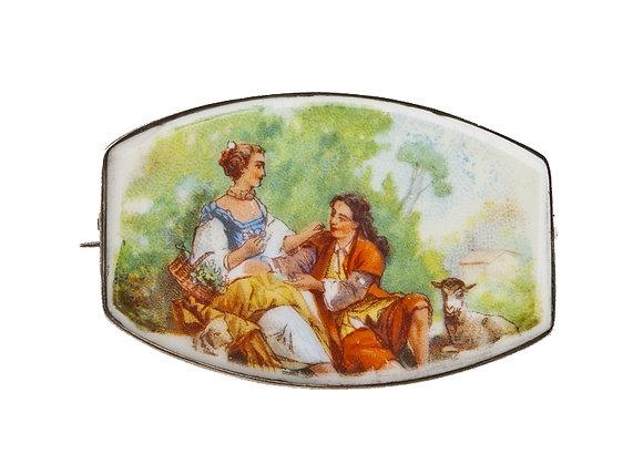 Broszka - scena rodzajowa na porcelanie