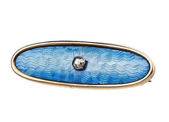 Broszka z diamentem i blue emalią na giloszu